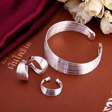 Fashion 925 Silver plated Lines Bracelet Earrings Rings Jewelry Sets S312