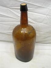 Lg Brown Blown in Mold Glass Applied Blob Top Demijohn Bottle Carbouy Jug