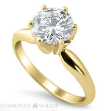 Cut Yellow Gold 18K Bridal, Enhanced Engagement Diamond Ring 1.01 Ct Si1/F Round