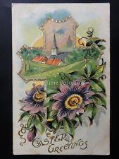 Embossed EASTER GREETINGS Depicts CROSS & CHURCH c1909 Postcard Ettlinger 5415