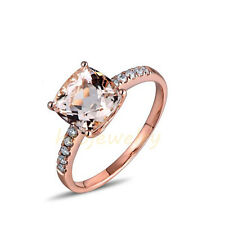 Genuine 2.45CT Pink Morganite Solid 14K Rose Gold Natural Diamond Ring