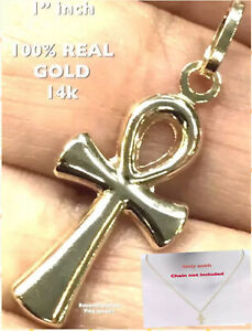 """GOLD Ankh cross 14k Charm Pendant necklace Yellow real Small 1"""""""