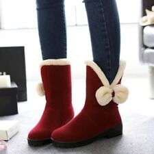 Women Bows Decor Fur Lined Snow Winter Warm Comfort Moccasins Casual Ankle Boots