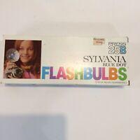VIntage Sylvania Press 25B Blue Dot Flashbulbs NIB New Old Stock Blue Bulbs