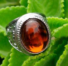Natural Hessnoite Gomed Garnet Clear Quartz Vintange Man's Ring Gemston Size 12