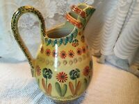 """LGE Italian Art Pottery Italica ARS Pitcher Carafe Hand Panted Italy Unique 11"""""""