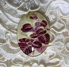 Purple Leaf Foilage 30X40mm Glitter Unset Handmade Glass Art Bubble Cameo Cab