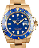 Rolex Submariner 18k Yellow Gold Blue Ceramic Watch Box/Papers 116618LB