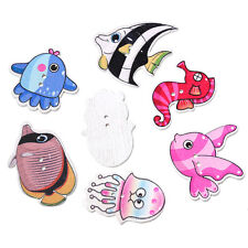 20 Wood Novelty Mixed Design Sea Fish Sewing Craft Buttons 3 - 3.6cm,