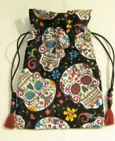 Sugar Skulls Wicca Pagan Tarot Card Drawstring Mojo Bag Pouch ~ FREE SHIP