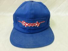 Vintage Speedy Auto Glass BlueSnapBack Hat Cap 1990s Mechanics Cars