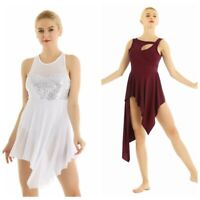 Adult Women's Sleeveless Asymmetric Ballet Leotard Skate Dance Dress Costume