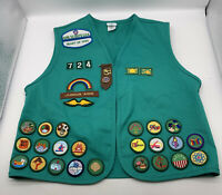 Vintage 2000's Girl Scout Vest Retired Patches Pins Ohio 724 Green Large 14/16