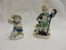 "2 Ceramic Occupied Japan Figurines- Boy and His Dog 3 1/2"" & 2 3/4"""
