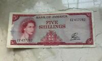 1960 Jamaica 5 Shillings Note Bill - World Currency