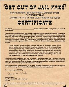 Super Rare - TSR Employee Get Out Of Jail Free Certificate D&D AD&D Gygax