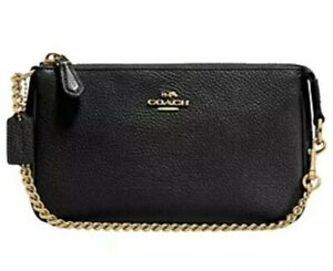 NEW COACH NOLITA  black pebbled leather wristlet CLUTCH BAG purse Rrp£115