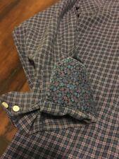 TALLIA purple plaid check flip cuff cotton L/S shirt Size large 16 1/2