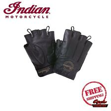 GENUINE INDIAN MOTORCYCLE MEN'S LEATHER FINGERLESS GLOVES BLACK NEW SCOUT CHIEF