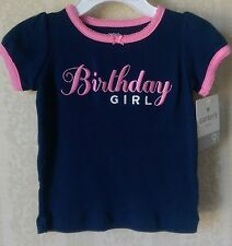 CARTER'S SPRING BIRTHDAY GIRL SHORT SLEEVE TEE 9 MONTHS NAVY AND PINK COTTON NWT