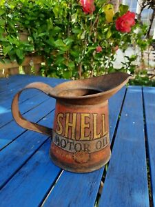Vintage Shell Motor Oil Jug Enamel Sign Petrol Pump Can Pint