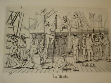 Léon PÂRIS GRAVURE EAU FORTE QUOTIDIEN MARINE BATEAU NAPOLEON III CADART 1870 k