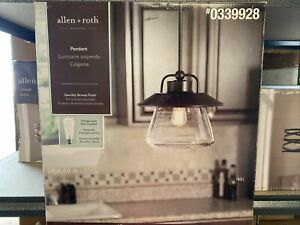Allen+Roth Bristow 12-in Specialty Bronze Rustic Hardwired Single Clear Glass