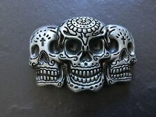 TRIPLE Mexican Tattoo SKULL New BELT BUCKLE Silver Colour Metal Sugar Skulls