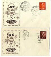 2 Sobres primer dia sellos de España General Franco 1960