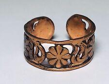 Vintage Copper Ring Flower Filigree Adjustable Band Boho Earthy Jewelry