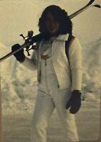 Vintage Photo Slide 1982 Skiing Woman Posed Snow