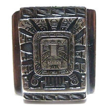 SIZE 11 MENS PERU PERUVIAN MEXICAN BIKER RING 900 SILVER AZTEC MAYAN SHIELD BAND