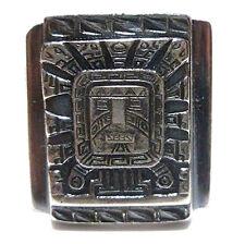 SIZE 11 MENS PERU PERUVIAN MEXICAN BIKER RING 900 SILVER AZTEC MAYAN SHIELD BAND