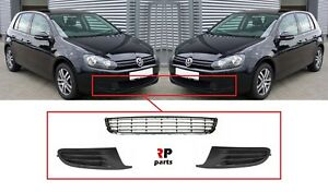 FOR VW GOLF VI 09-13 FRONT BUMPER FOG COVER PAIR WITH BLACK CENTER GRILLE