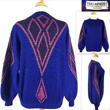 Vtg TED LAPIDUS Boutique Haute Couture Paris Sweater 36 Italy Blue Pink Wool
