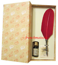 Bortoletti FEATHER QUILL Fine PEN + INK RED Gift Box Set New HANDMADE ITALIAN