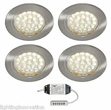 4 x RECESSED LED ROUND KITCHEN UNDER CABINET CUPBOARD SHELF LIGHT WARM WHITE LED