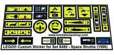 Precut Custom Replacement Stickers voor Lego Set 8480 - Space Shuttle (1996)