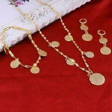 Islamic Allah Necklace Bracelet Earrings Muslim Coin Jewelry Set 14K Gold Plate