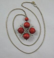 Vintage Kaija Aarikka Red Wood Bead Necklace Pendant Finland Modernist