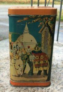 Vintage 1940 Lipton Tea Tin British India Elephants Culture Dance Trade Lipton's