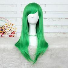 60cm Code Geass C.C CC Green Long Straight Womens Smooth Cosplay Wig +a wig cap