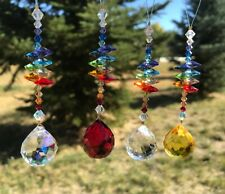 Swarovski Chakra Rainbow Suncatcher, Car Accessory Charm, Tree Ornament, Hearts