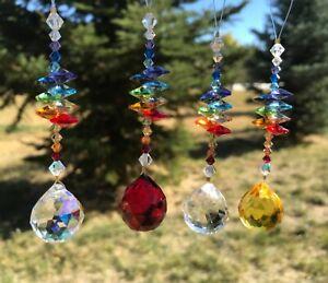 """Swarovski Chakra Rainbow Suncatcher, Car Accessory Charm, Tree Ornament, 4.5"""" ❤"""