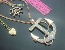 518A     Betsey Johnson Crystal Anchor Rudder Pendant Double Chain Necklace