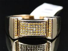 Mens Yellow Gold Finish Yellow Diamond Engagement Designer Band Pinky Ring