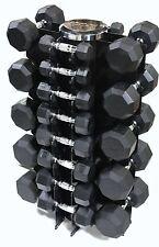 3 - 50 lb Dumbbell Set w Vertical Rack Rubber Coated Oct Heads Chrome Handles