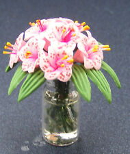 1:12 Scale Light Pink Lilies In A Vase Tumdee Dolls House Flower Accessory