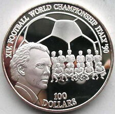 Niue 1990 World Cup 100 Dollars 5oz Silver Coin,Proof