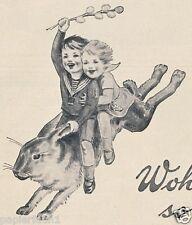 Bleyle Kinderkleidung Stuttgart Reklame 1927 Kinder Hase Osterhase Matrosenanzug